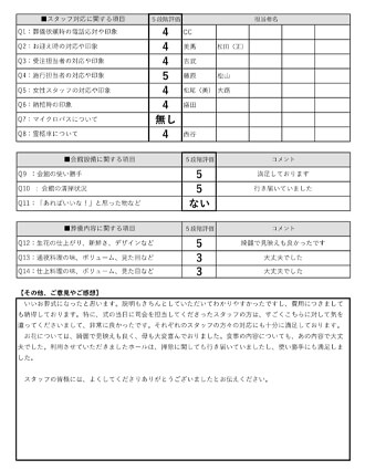 2020925大津市 A様 家族葬のアンケート