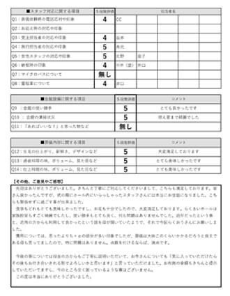 20201113京都市O様 家族葬のアンケート