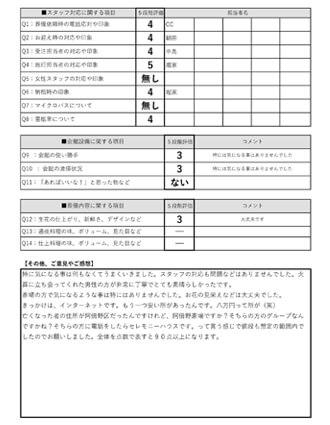 20201121大阪市H様 火葬式のアンケート