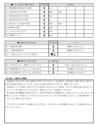 20210110京都市M様 家族葬のアンケート