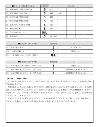 20210405堺市Y様 家族葬のアンケート