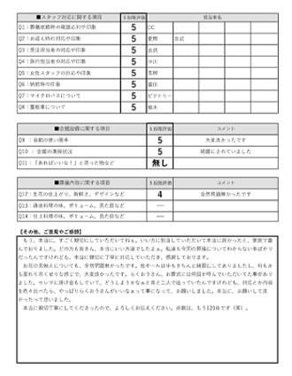 20210417京都市O様 家族葬のアンケート