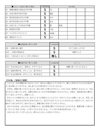 20210924八尾市M様 家族葬のアンケート